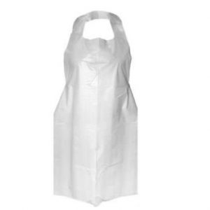 Disposable plastic aprons tie back